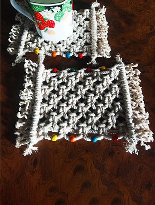 Off White Macrame Cotton Coasters ( Set of 4 ) (6.5in x 4in)