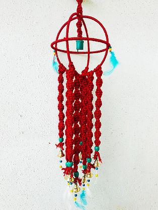 Red Macrame Nylon Wind Chime (29in x 6.7in)