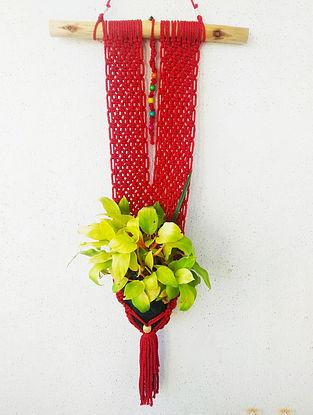 Red Macrame Pot-holder (28in x 15in)