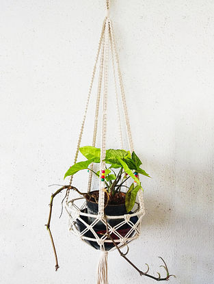 Off-White Macrame Cotton Pot Holder with Glass Beads (32in x 8.5in)