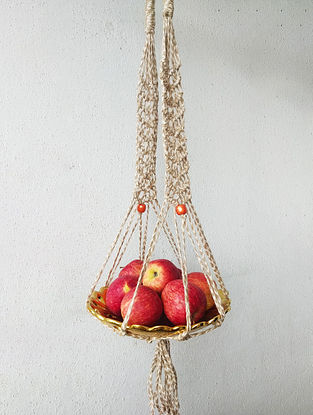 Brown Macrame Jute Pot Holder with Glass Beads (34in x 2in)