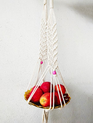 Off-White Macrame Cotton Pot Holder with Glass Beads (33in x 2.2in)