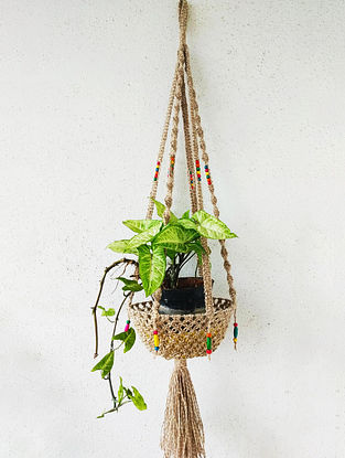 Brown Macrame Jute Pot Holder with Glass Beads (35.5in x 8.6in)