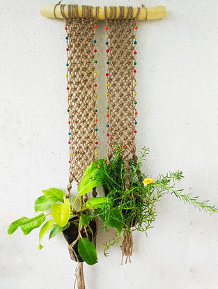 Brown Macrame Jute Pot Holder with Glass Beads (42in x 14in)