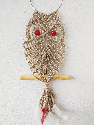 Brown Macrame Jute Owl Wall Accent with Glass Beads (18in x 6.6in)