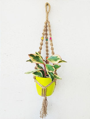Brown Macrame Jute Pot Holder With Wood Beads (32in x 1.6in)