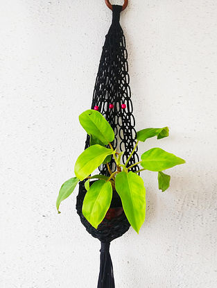 Black Macrame Nylon Pot Holder With Wood Beads And Ring (32in x 5.5in)