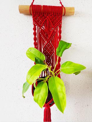 Red Macrame Nylon Pot Holder (32in x 10.2in)