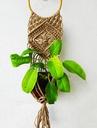 Brown Macrame Jute Pot Holder With Wood Beads And Steel Ring (30in x 6in)