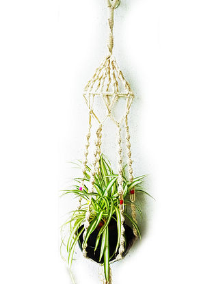 Off white Macrame Cotton Pot Holder With Wood Beads And Steel Ring (38in x 6in)