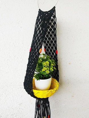 Black Macrame Nylon Pot Holder with Steel Ring and Wood Beads (L - 33in)