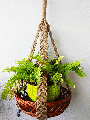 Brown Macrame Jute Pot Holder with Steel Ring and Wood Beads (L - 37in)