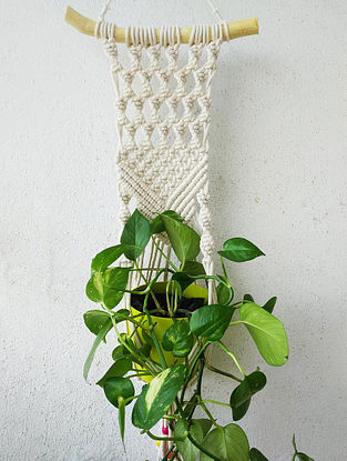 Off-White Macrame Cotton Pot Holder with Driftwood and Wood Beads (L - 29.5in)