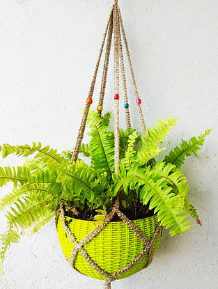 Brown Macrame Jute Pot Holder with Wood Beads (L - 43in)