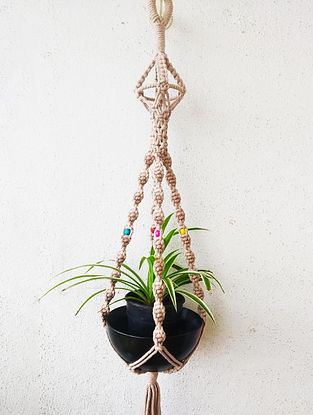 Beige Macrame Cotton Pot Holder with Wood Beads (L - 36in)