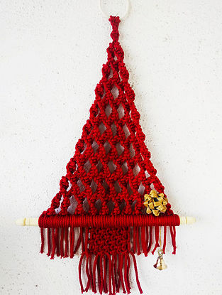 Red Macrame Nylon Xmas Tree Wall Hanging with Wood Ring and Brass Bell (L - 18in)