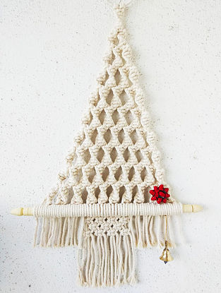 Off-White Macrame Cotton Xmas Tree Wall Hanging with Wood Ring and Brass Bell (L - 19in)