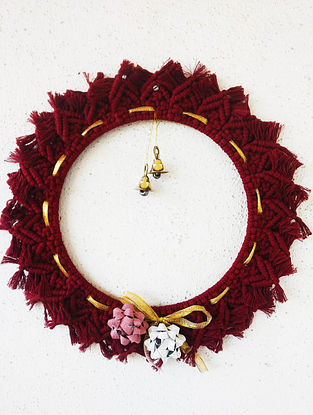 Wine Red Macrame Cotton Xmas Wall Wreath with Steel Ring and Brass Bells (10in x 10in)
