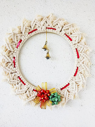 Off-White Macrame Cotton Xmas Wall Wreath with Steel Ring and Brass Bells (10in x 10in)
