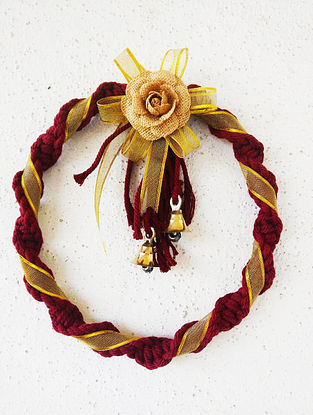 Wine Red and Golden Macrame Cotton Xmas Wall Wreath with Steel Ring and Brass Bells (10in x 10in)