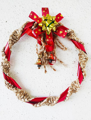 Red and Brown Macrame Cotton Xmas Wall Wreath with Steel Ring and Brass Bells (9in x 9in)