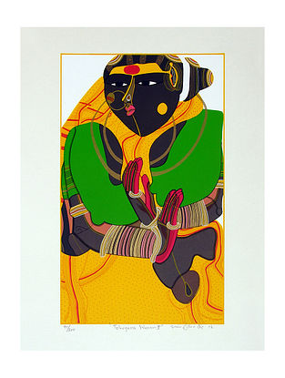 Thota Vaikuntam's Limited Edition Telangana Woman - II Serigraph on Paper- 20in x 14in