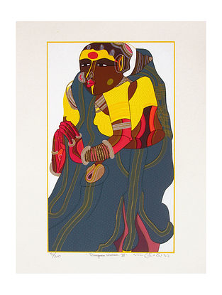Thota Vaikuntam's Limited Edition Telangana Woman - IV Serigraph on Paper- 20in x 14in