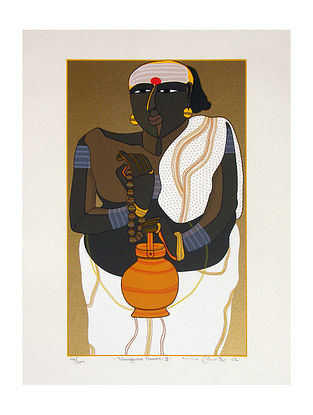 Thota Vaikuntam's Limited Edition Telangana Pandit - II Serigraph on Paper- 20in x 14in