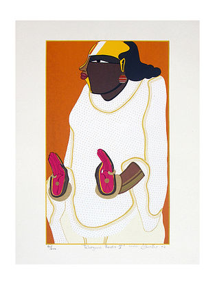 Thota Vaikuntam's Limited Edition Telangana Pandit - V Serigraph on Paper- 20in x 14in