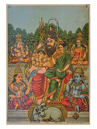 Raja Ravi Varma's Panchdev Lithograph on Paper- 14in x 10in
