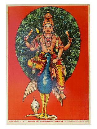 Raja Ravi Varma's Subramanaya Lithograph on Paper- 14in x 10in