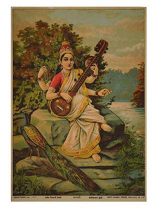 Raja Ravi Varma's Saraswati Lithograph on Paper- 14in x 10in