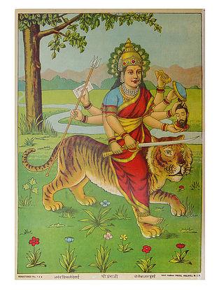 Raja Ravi Varma's Shree Ambaji Lithograph on Paper- 14in x 10in