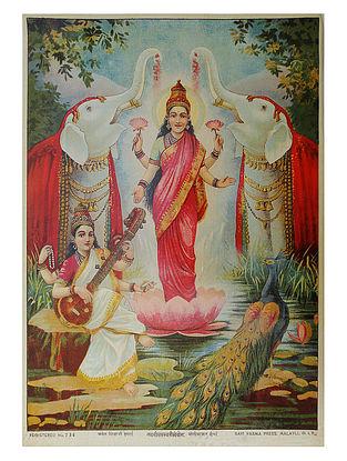 Raja Ravi Varma's Laxmi Saraswati Sonyog Lithograph on Paper- 14in x 10in