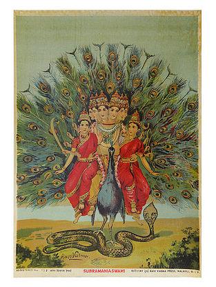Raja Ravi Varma's Subramania Swami Lithograph on Paper- 14in x 10in