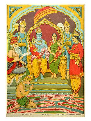 Raja Ravi Varma's Ram Lav Kush Lithograph on Paper- 14in x 10in
