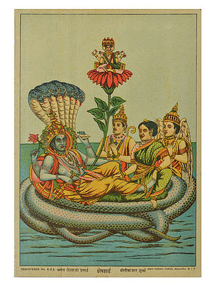 Raja Ravi Varma's Shesh Sai Lithograph on Paper- 10in x 7in
