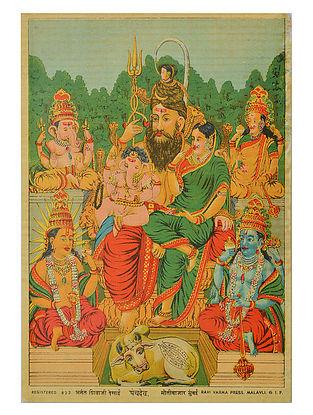Raja Ravi Varma's Panchdev Lithograph on Paper- 10in x 7in