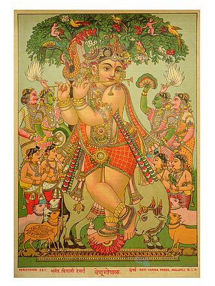 Raja Ravi Varma's Venugopal Lithograph on Paper- 10in x 7in