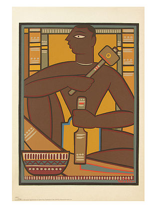 Jamini Roy's Limited Edition Sanathal Carver Serigraph on Paper - 20in x 14in