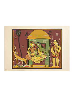 Jamini Roy's Limited Edition Mrug Darshan Serigraph on Paper - 14in x 20in