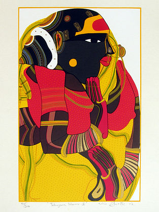 Thota Vaikuntam's Limited Edition Telangana Woman - I Serigraph on Paper - 20in x 14in