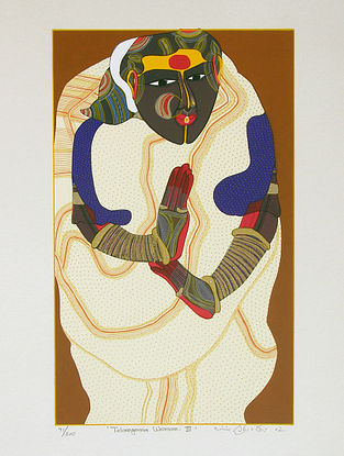 Thota Vaikuntam's Limited Edition Telangana Woman - III Serigraph on Paper - 20in x 14in