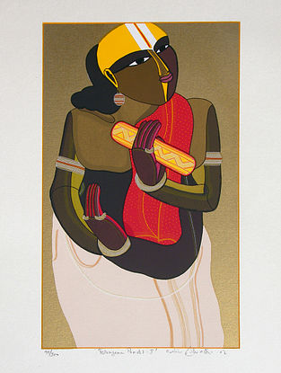 Thota Vaikuntam's Limited Edition Telangana Pandit - I Serigraph on Paper - 20in x 14in
