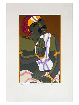 Thota Vaikuntams Limited Edition Telangana Pandit - III Serigraph on Paper - 20in x 14in
