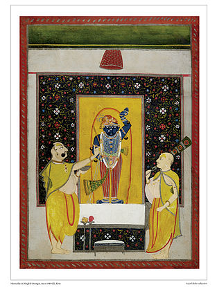 Shrinathji in Mughal Shringar Digital Print on Paper (16.5in x 12.5in)