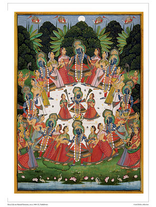 Rasa-Lila on Sharad Purnima Digital Print on Paper (16.5in x 12.5in)