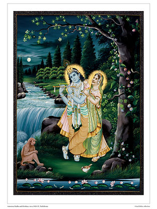 Amorous Radha and Krishna Digital Print on Paper (16.5in x 12.5in)