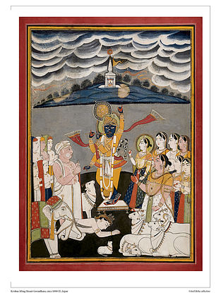 Krishna Lifting Mount Govardhana Digital Print on Paper (16.5in x 12.5in)