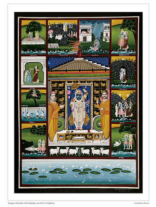 Shringar of Shrinathji with Krishnalila Digital Print on Paper (16.5in x 12.5in)